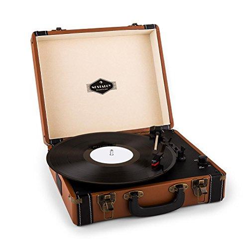 auna Jerry Lee Retro-Plattenspieler mit USB-Anschluss & Stereo-Cinch-Line-Ausgang