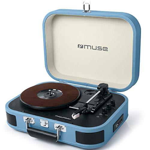 Muse MT-201 Retro Plattenspieler mit Bluetooth, eingebaute Stereo Lautsprecher und USB (RCA-Ausgang, AUX-Eingang, Kopfhöreranschluss), blau