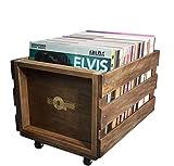 Holz-LP-Rekordlagerungskiste auf Rädern für bis zu 100 Alben, durch Retro Musique