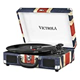 Victrola Suitcase Turntable 3-Gang Bluetooth Kofferplattenspieler - Britische Flagge