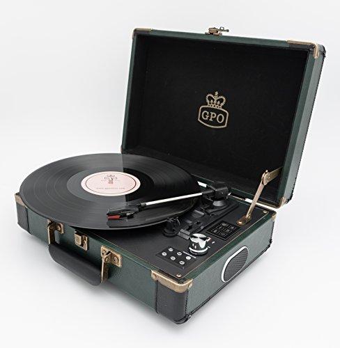 GPO Ambassador Bluetooth Koffer-Plattenspieler, Retro Vinyl Plattenspieler mit eingebauten Lautsprechern Schwarz/Grün