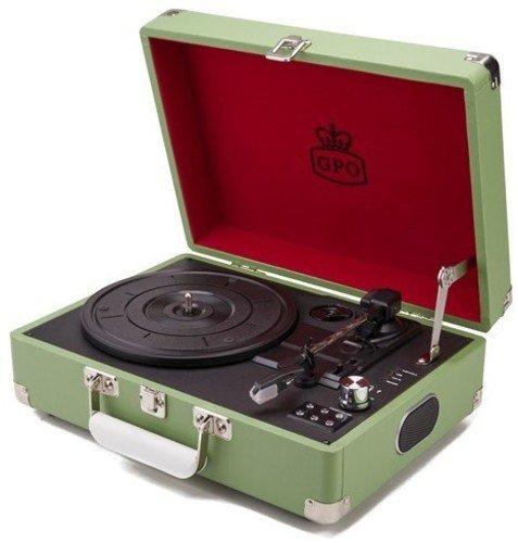 GPO Tragbarer Vinyl Plattenspieler mit integriertem USB-Stick und Lautsprechern, Aktenkoffer-Design, DREI Geschwindigkeiten