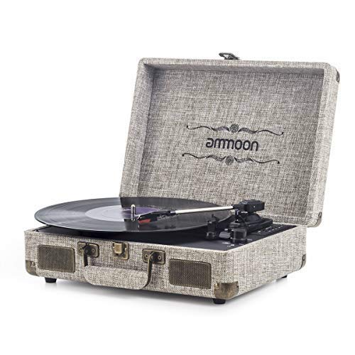 ammoon Plattenspieler Vinyl-Schallplattenspieler 3 Gang, mit 2 Stereo-Lautsprechern, Unterstützt RCA-Ausgang, 3,5 mm Aux-In, Kopfhöreranschluss, SD-Eingang mit Zwei Plattenspieler Nadel