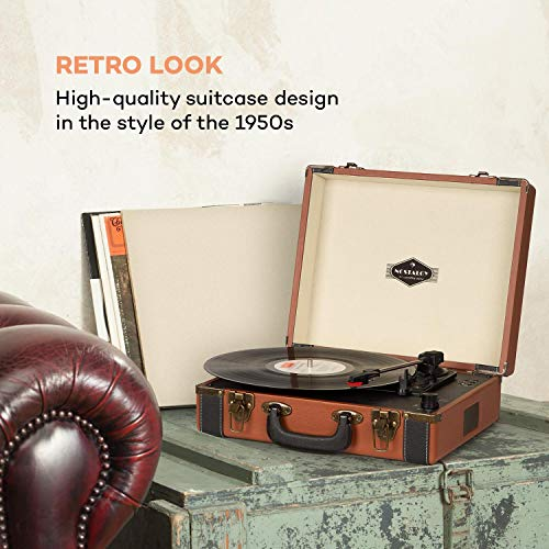 auna Jerry Lee BT Plattenspieler - Schallplattenspieler mit Stereo-Lautsprecher, Vinyl Player mit USB-Anschluss zum Digitalisieren, Riemenantrieb in 3 Geschwindigkeiten, 33, 45, 78 U/min, 3 Plattengrößen, Hellbraun