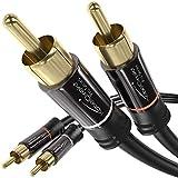KabelDirekt – 2 m – Cinch-Kabel, 2 Cinch auf 2 Cinch, Stereo-Audiokabel (Koax-Kabel, RCA-Stecker/Stecker, analog oder digital, für Subwoofer/Verstärker/HiFi und Heimkino/Blu-ray/Receiver, schwarz)