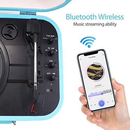 Plattenspieler, VOKSUN Bluetooth Schallplattenspieler Vinyl Plattenspieler Turntable mit Lautsprecher, Riemenantrieb 33/45/78 U/min, Plattenspieler Koffer, Vinyl-zu-MP3-Funktion/USB/Aux-In/RCA
